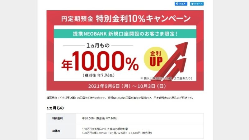 定期預金 金利10%
